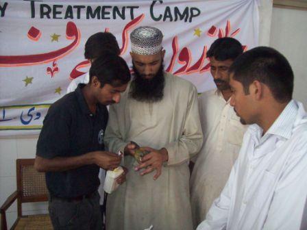 A parrot receives treatment