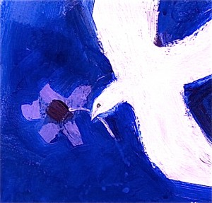 Dove with purple poppy