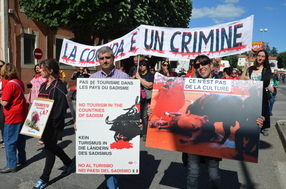 Italian demonstrators: Bullfighting is a crime.
