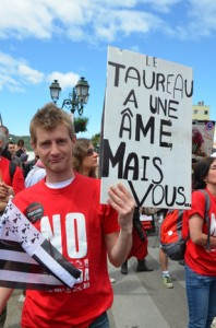 This Breton campaigner says: 'The bull has a soul, but you...?