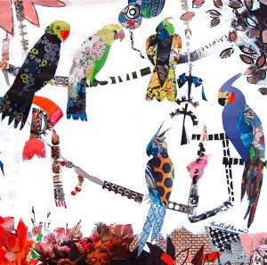 Aviary, collage and mixed media (c) Ann Johnson