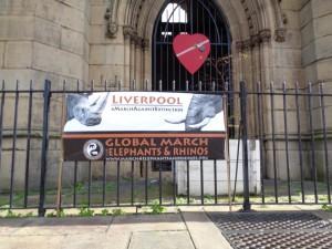 Banner outside St Luke's Church before the demo.