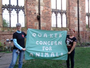 THE QCA banner - here being held by Dawn (l) from iworry and Tiffani (r) from Elephant Nature Park.