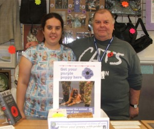 The Kit Wilson Trust in Hadlow Down, East Sussex are big supporters of the Purple Poppy Campaign. Pictured here are volunteer staff in Eastbourne's branch of the Kit Wilson charity shop.
