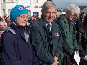 Members of the Eastbourne Purple poppy team, left to right, Helen Elliott, Bill Palethorpe, Margaret Jones.