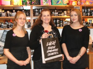 Lush Cosmetics in Eastbourne's Arndale Centre allow us to make a display of the poppies and sell them on 8 November. LUSH makes a donation as well