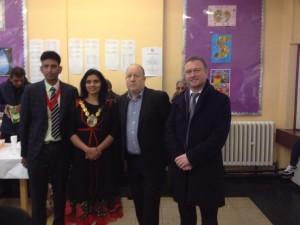 The Mayor's husband, the Mayor, Leader of Croydon Council Tony Newman, and Croydon MP Steve Reed.