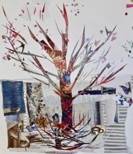 The Mother Tree, recycled paper collage by Ann Johnson. 'Mother trees' are the largest trees in the forest, supporting seedlings by supplying vital nutrients for their development.
